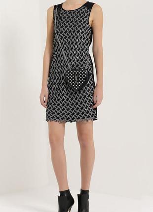 Шикарное натуральное платье miss selfridge серо черное в принт размер евро 40 этикетка