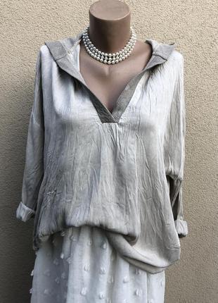 Серая,штапельная блуза с капюшоном,рубаха,кэжуал,кофта,