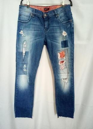 Распродажа!  классные укороченные джинсы с дырками, ткань тянется