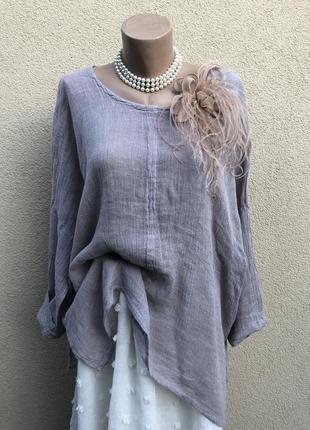 Серая,лён блуза,рубаха,этно бохо стиль,большой размер