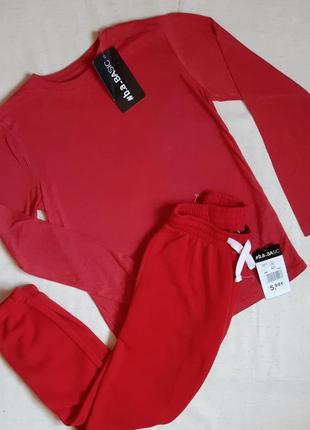 """Красный спортивный костюм реглан и штаны с начесом """"b.a. basic"""" германия на 10,12, 14 лет"""