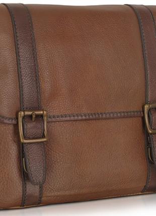 Мужская кожанная сумка  на регулируемом ремне, шоколадного колиру, бренд fossil, новая