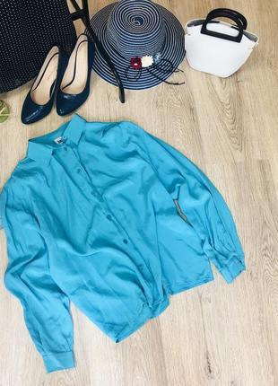 Стильная рубашка,блуза бирюзового цвета,100%шёлк