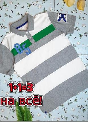 🎁1+1=3 фирменная плотная футболка поло хлопок tommy hilfiger на мальчика 12 - 14 лет