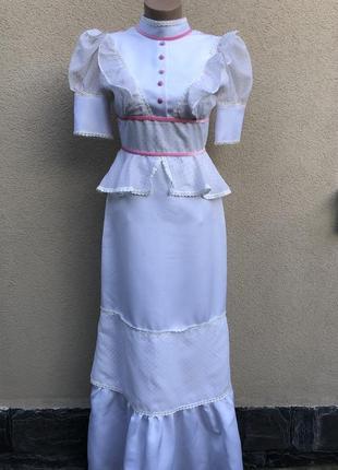 Винтаж,белое,длинное платье,вечернее,свадебное,люкс бренд