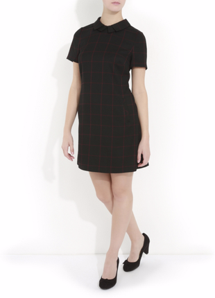 Клетчатое платье с воротником, платье в клеточку, темное платье, платье george