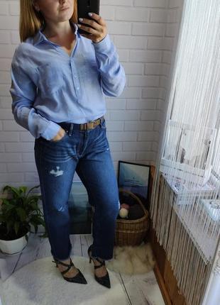 Хит продаж прямые укороченные джинсы с необработаным  низом  edc