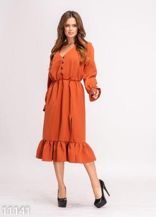 Красивое кирпичное платье с воланами