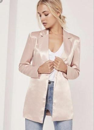 Шикарный атласный  пиджак/блайзер/жакет от missguided пудрового цвета