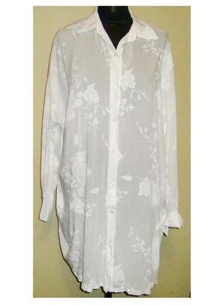 Шикарная ,нежная , легкая , натуральная блуза - рубашка , италия , р. 58 - 62