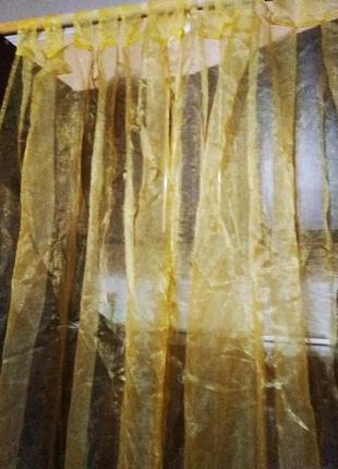 Тюль желтого цвета новая  под трубу  5 отрезов шир 7м.