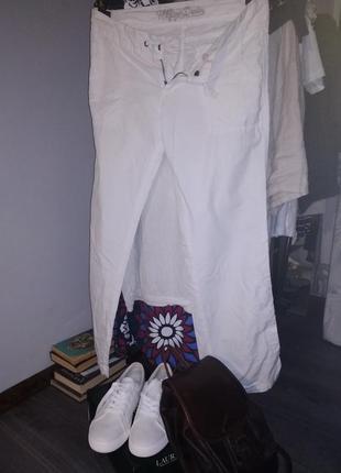 Белые брюки лен