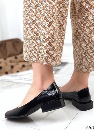Новые женские кожаные чёрные  туфли
