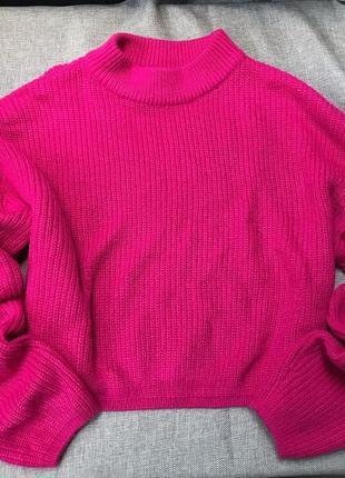 Малиновый оверсайз свитерок h&m