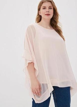 Новая с биркой шёлковая блузка свободного стиля пудровая размер 16-18 elena baldi италия