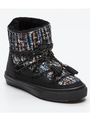 Новые ботинки inuikii кожа текстиль мех оригинал валенки сапоги на меху