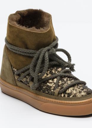 Новые ботинки inuikii овчина мех пайетки сапоги на меху оригинал зима