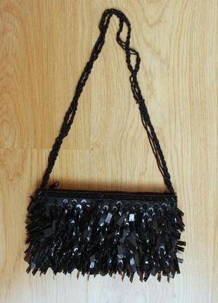 Сумка клатч кросс-боди черная кошелек маленькая сумочка нарядная вечерняя ручная работа