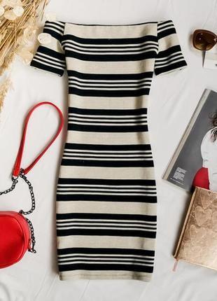 Приталенное платье в полоску  dr1940140 topshop