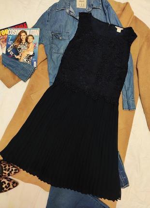 Monsoon тёмно синее платье плиссерованная юбка верх с кружевом