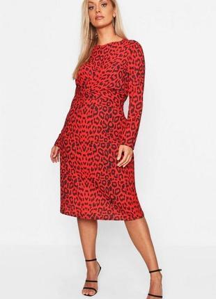 Платье красное чёрное миди леопардовый принт батал большое новое boohoo