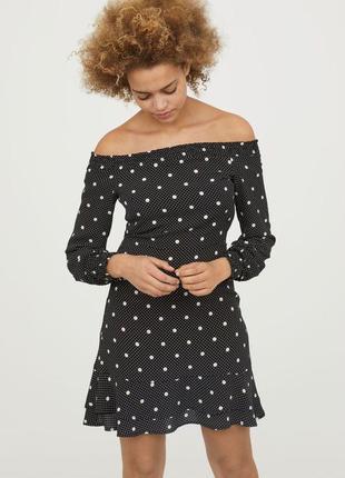 Шикарное платье 👗 в горох с открытыми плечами h&m ♥ 42