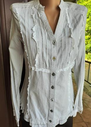 Хлопковая рубашка в мелкую полоску