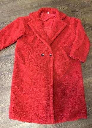 Пальто красное, шуба из эко- меха, оверсайз шуба из штучного меха