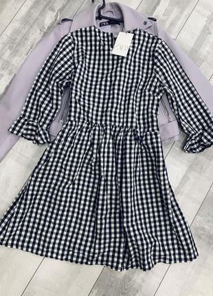 Хлопковое платье в клеточку zara