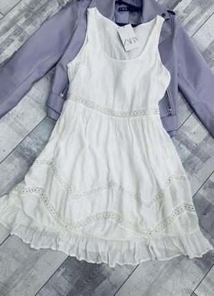 Белое хлопковое платье zara
