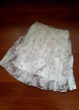 36-38р. пышная белая юбка из органзы с рисунком
