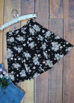 Скидка 25% на все вещи! черная юбка-солнце в цветы  miss selfrige размер uk10 (s)