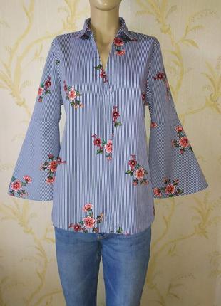 Блуза- рубашка tu полосатая, принт цветы, рукав клеш р l-xl