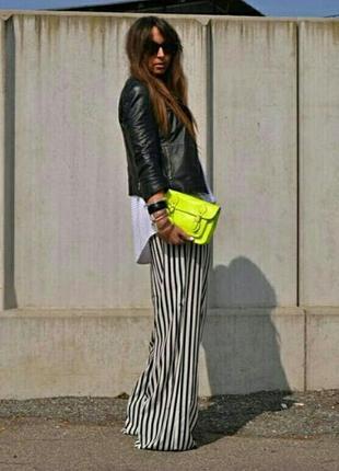 Актуальные легкие штаны-кюлоты в полоску стиль zara