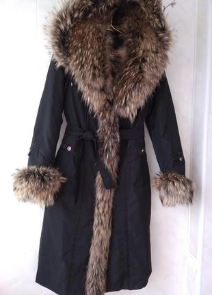 Пальто пихора  трансформер с   натуральным мехом на подкладке из кролика с капюшоном