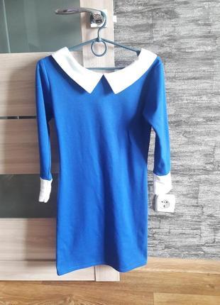 Синее мини платье