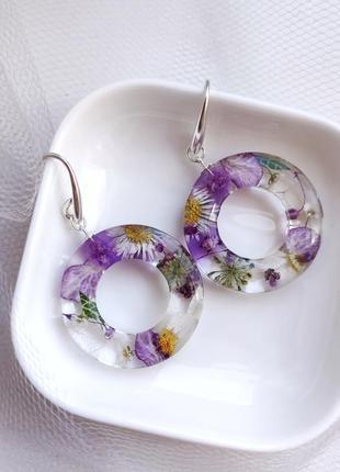 Серебряные серьги с натуральными цветами