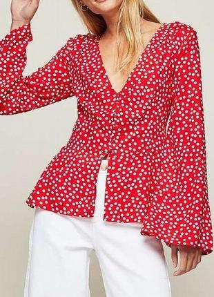 Красная блуза блузка рубашка топ в горох горошек asos в французском стиле