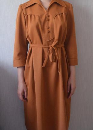 Очень крутое платье миди с поясом и воротником