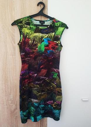 Платье тропический прино цветы джунги карандаш в облипку по фигуре