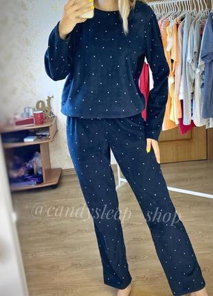 Уютная нова пижама kiabi лёгкий флис синяя