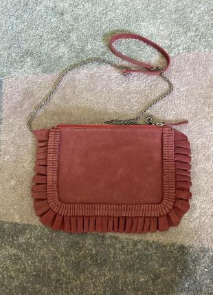 Замшевая сумочка кросс боди клатч из замши от дорого датского бренда beck sondergaard