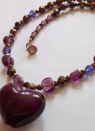 Ожерелье с подвеской из муранского стекла . италия