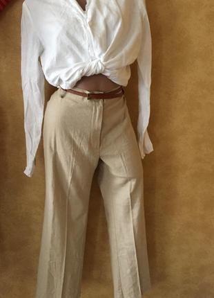 Льняные брюки бежевые штаны с высокой талией