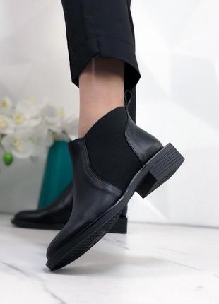 Новые женские кожаные чёрные осенние ботинки