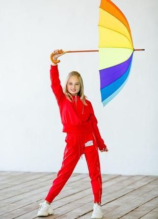 Спортивный костюм красный текстовый принт девочке рост 140-176