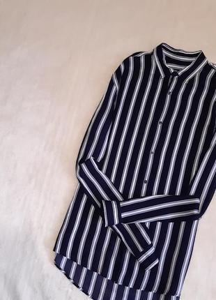 Лёгкая тонкая рубашка вискоза длинный рукав в мужском стиле унисекс размер 8 slin fit zara