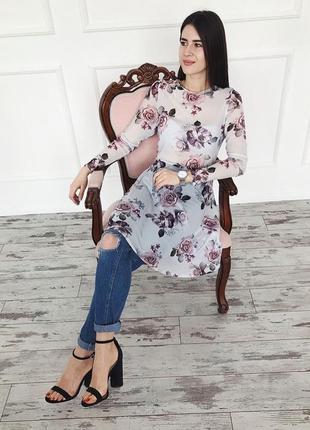 Платье - сетка в цветочный принт new look