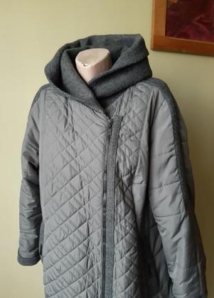 Пальто стьоганне плащ тренч на осень вставки шерсть