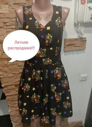 Платье в принт лисички